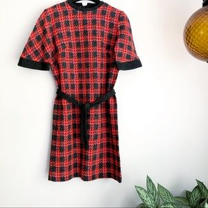 Vintage plaid belted woven short sleeve 60's dress